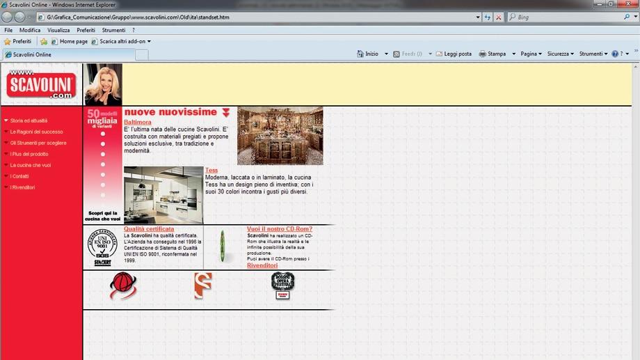 Diese Homepage war 1996 der neueste Schrei: Scavolini wagte sich als einer der ersten Küchenhersteller ins damals unbekannte Internet. (Foto: Scavolini)