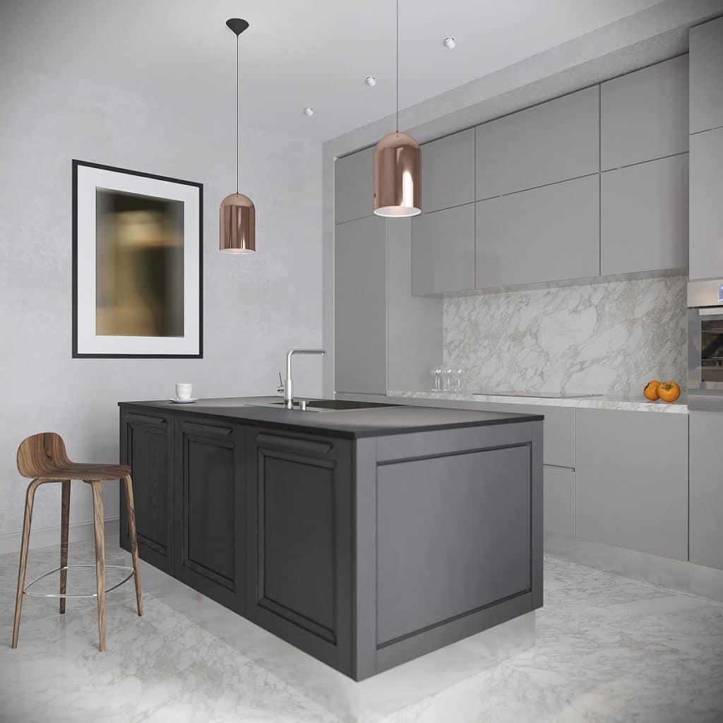 Graue Küchen sind enorm beliebt seit mehreren Jahren - werden aber eher mit hellgrauen, weißen und schwarzen Tönen, Kupfer oder Holz kombiniert. (Foto: Adobe Stock)