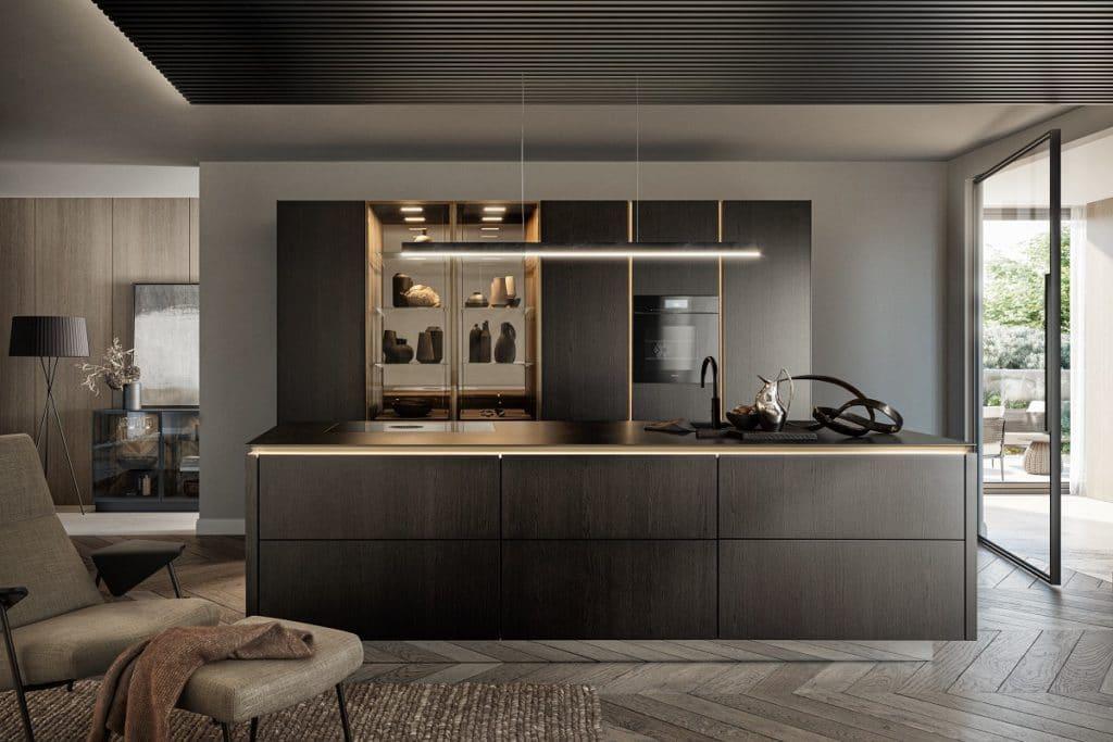 Mit dem kräftigen Holzfarbton und den hocheleganten, goldschimmernden Metallic-Elementen der SLX Pure konnte das Unternehmen punkten. Künftig fließen noch mehr Metallic-Elemente in die Gestaltung ein. (Foto: SieMatic)