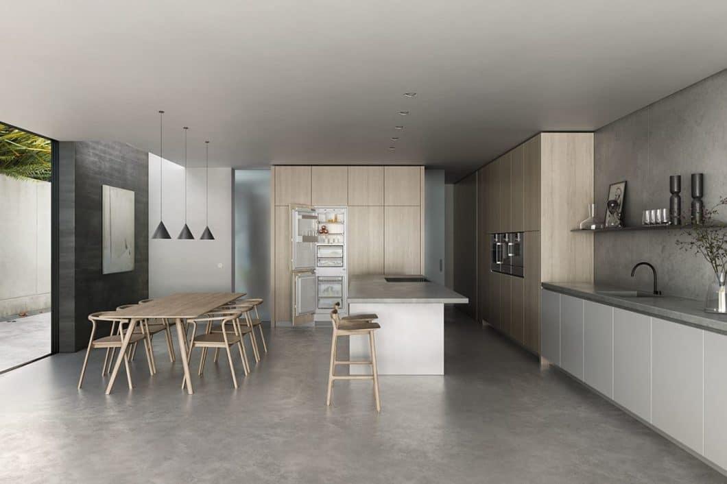 Die neue Gaggenau Kühlgeräte-Serie 200 fügt sich elegant und minimalistisch in moderne, warme Wohnküchen ein. (Foto: Gaggenau)