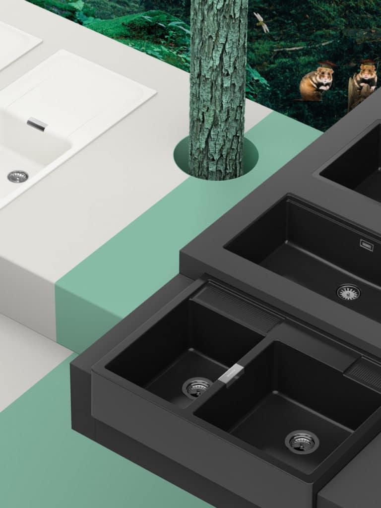 Weiß oder Schwarz? Hauptsache Grün! Die Green Line-Küchenspülen von SCHOCK. (Foto: SCHOCK)
