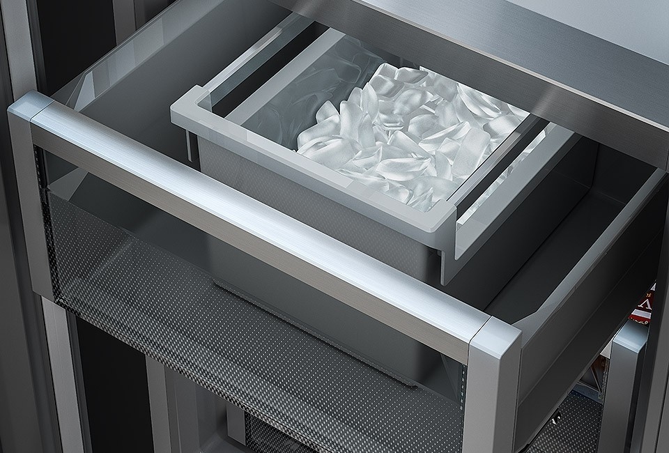 """Die nächste Party kommt bestimmt: der integrierte IceMaker produziert automatisch Eiswürfel vor. Nur eines von vielen """"Superfeatures"""". (Foto: Liebherr)"""