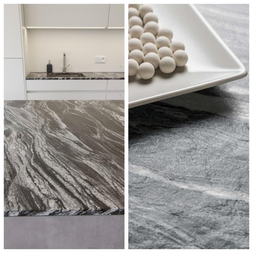 Granit (li.) und Keramik sehen sich bisweilen täuschend ähnlich. Beide sind sehr hochwertige Materialien in der Küche - aber Keramik ist nicht nur teurer, sondern auch robuster. (Collage: Küchen&Design Magazin/ Neolith/ Grill&Ronacher)