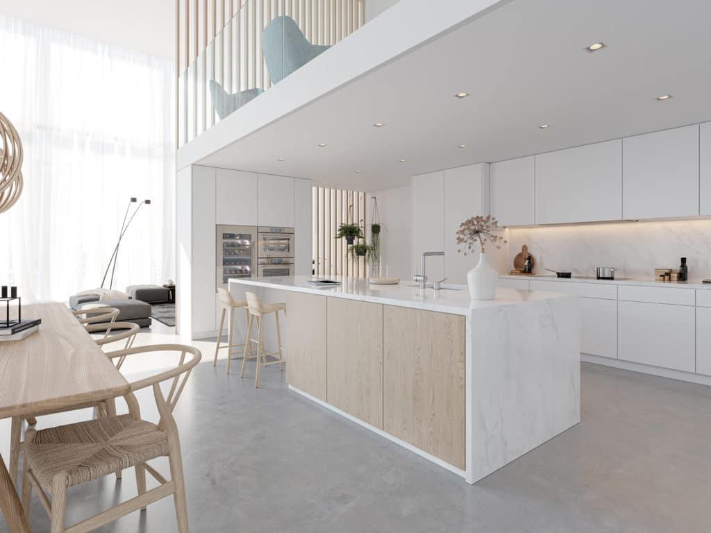 """Drei außergewöhnlich schöne Farben laden zur perfekten Küchenarchitektur ein. Hier in der sanften Farbe """"Pearl"""", die ideal zu hellen und natürlichen Küchen passt. (Foto: V-ZUG)"""