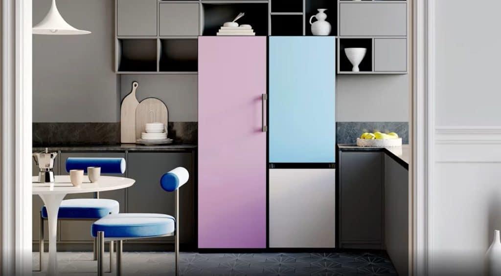 """Ungewöhnlich, aber keineswegs unmöglich: den """"Bespoke""""-Kühlschrank von Samsung ziert eine pastellige Farbwelt. (Foto: Samsung)"""