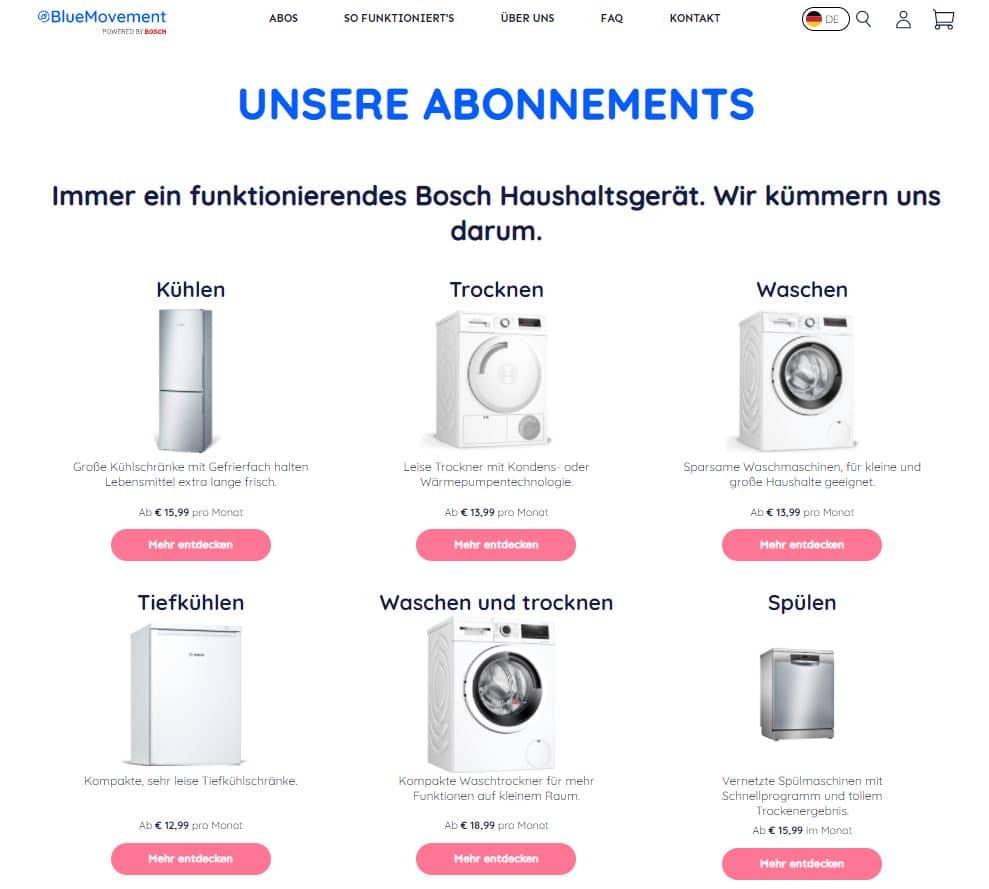 Im BlueMovement-Abo ist es möglich, verschiedene Haushalts- und Küchengeräte zu mieten. (Foto: Screenshot bluemovement.com)
