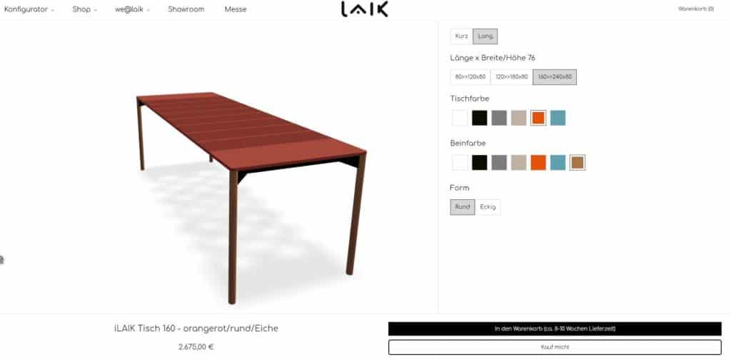 Im Online-Konfigurator von LAIK finden sich verschiedene Farben für den ausziehbaren Tisch wieder, darunter auch dieses schöne Orangerot. (Foto: Screenshot laik.style)