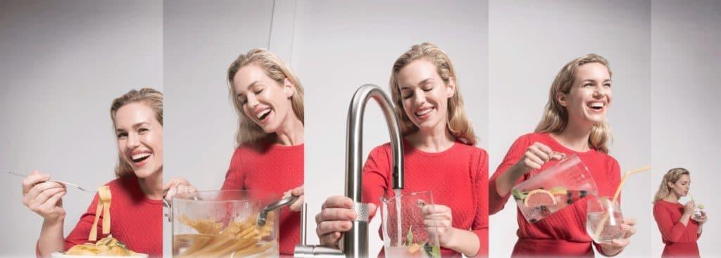 """""""Der Wasserhahn, der alles kann"""": tatsächlich ersetzt der Quooker CUBE in der Küche gleich mehrere Geräte. (Foto: Quooker)"""