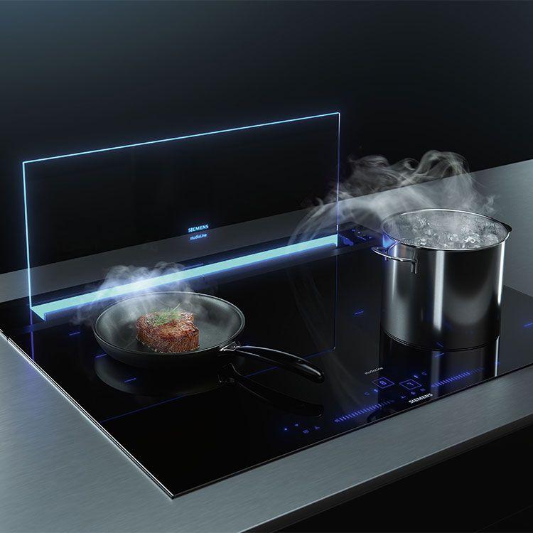 Kochdunst, also Wrasen, sichtbar gemacht - und effektiv abgezogen. (Foto: Siemens glassdraftAir)