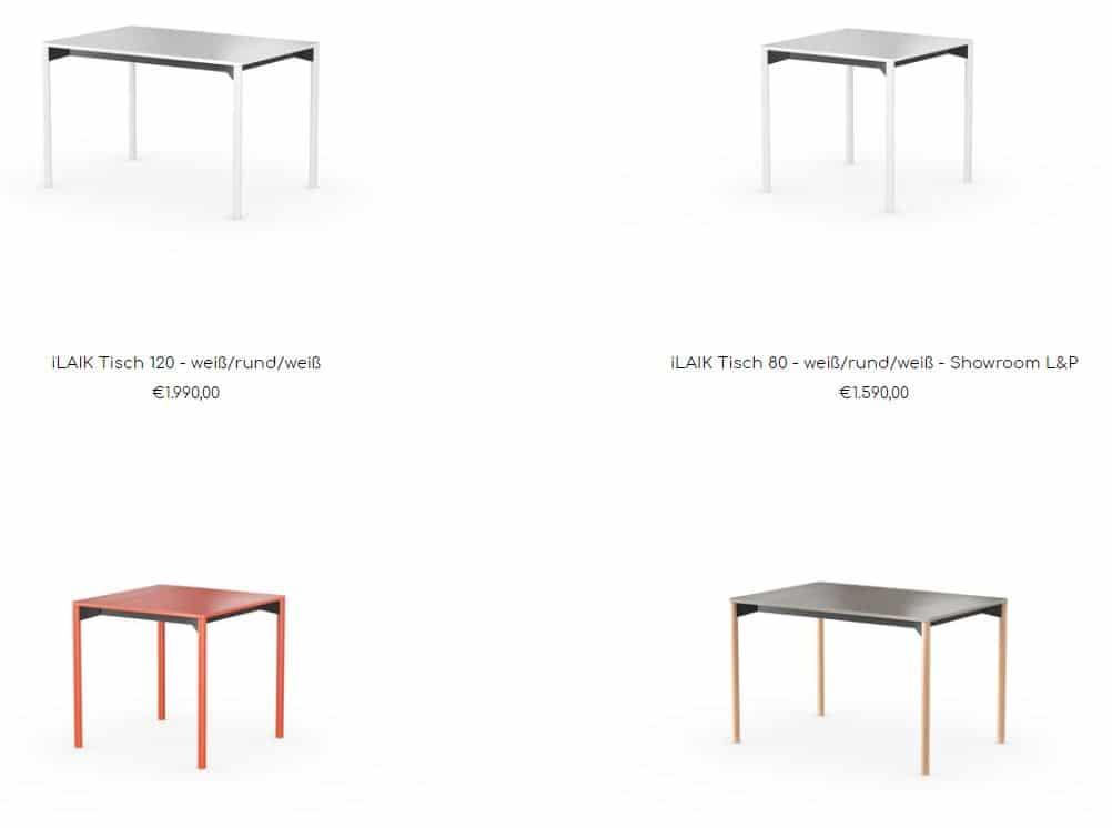 Neben der persönlichen Konfiguration ist auch die Wahl eines vorkonfigurierten Tisches möglich. (Foto: Screenshot laik.style)